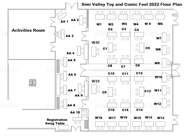 Simi Valley Toy and Comic Fest 2022 Floor Plan